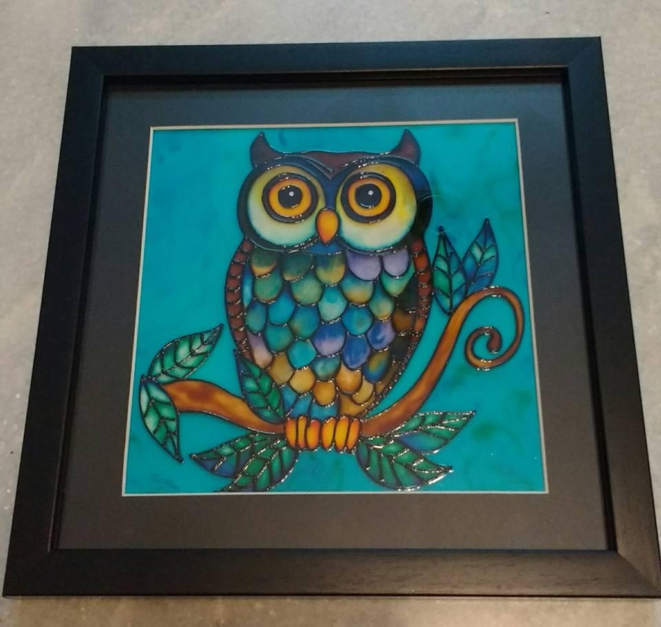 Owl Glass Painting – Framed Wall Art – Curators Of Contemporary With Owl Framed Wall Art (View 20 of 20)