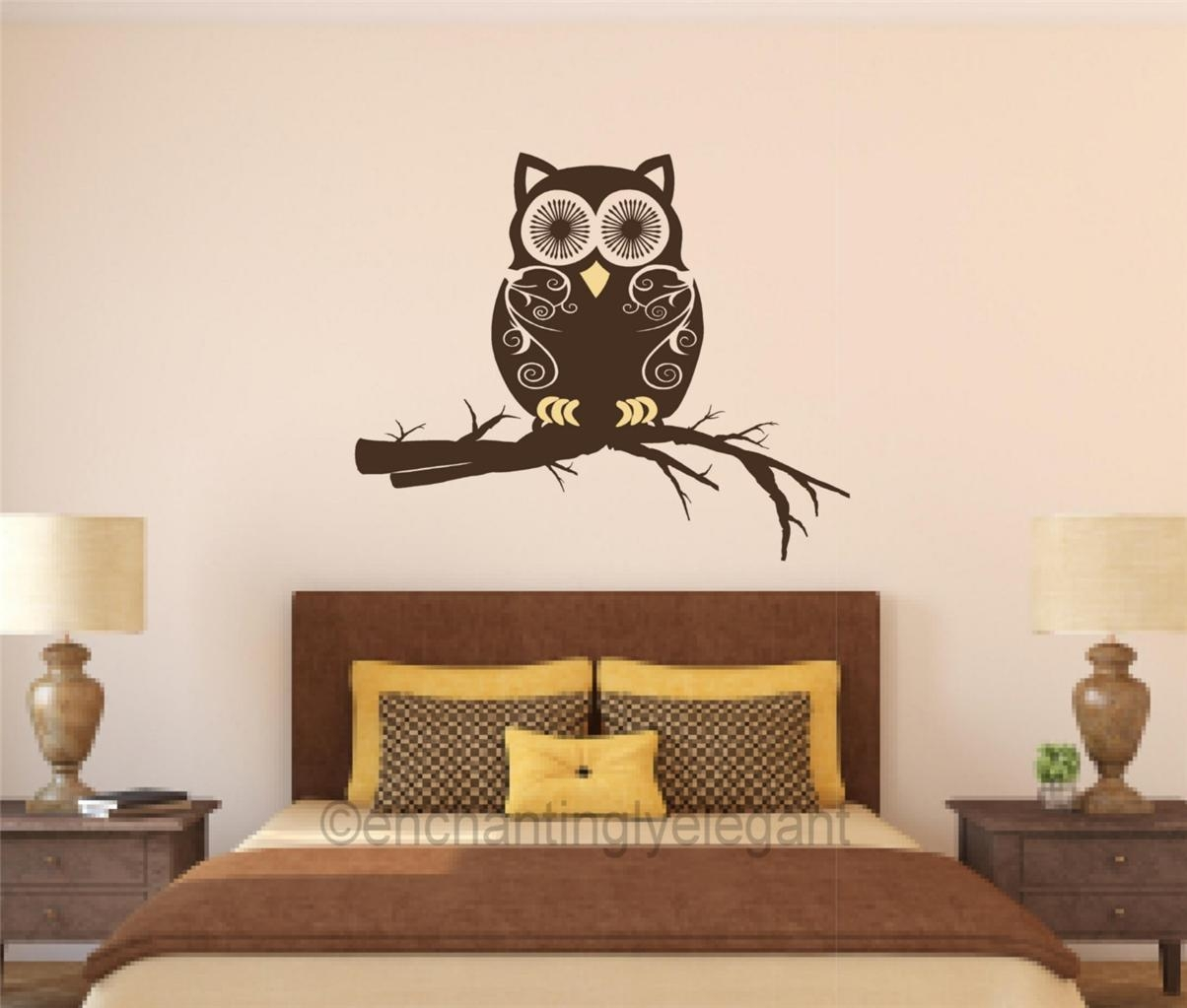 Owl On Branch Vinyl Decal Wall Sticker Mural Nursery Teen Room Owl In Kohls Wall Art Decals (View 10 of 17)