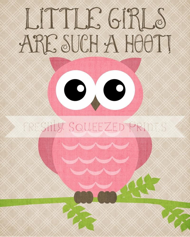Owl Poster Little Girls Are A Hoot Wall Art 8X10 Printed Regarding Little Girl Wall Art (Image 12 of 20)
