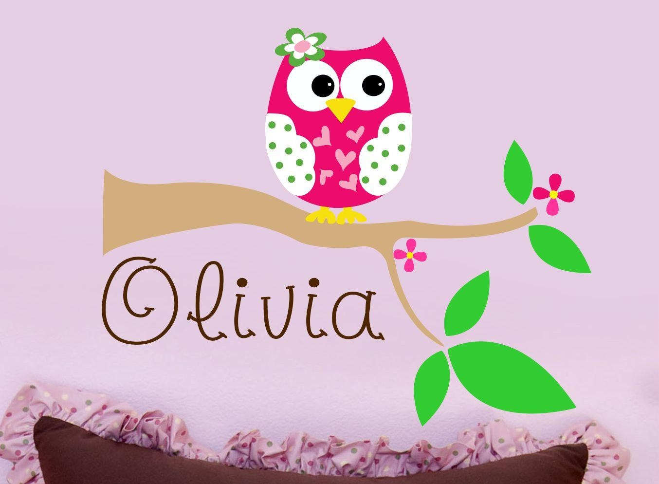 Owl Wall Decal Personalized Name Wall Decal Nursery Wall Throughout Owl Wall Art Stickers (View 2 of 20)