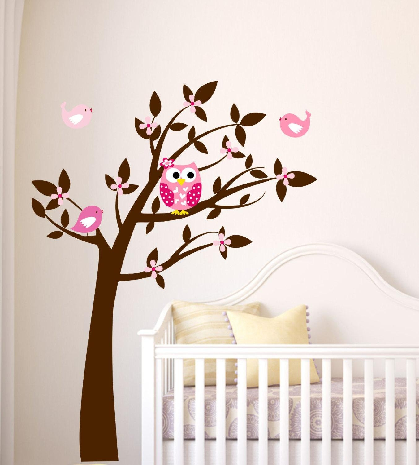 Owl Wall Decal Tree Vinyl Wall Decals Childrens Wall Art In Owl Wall Art Stickers (View 3 of 20)