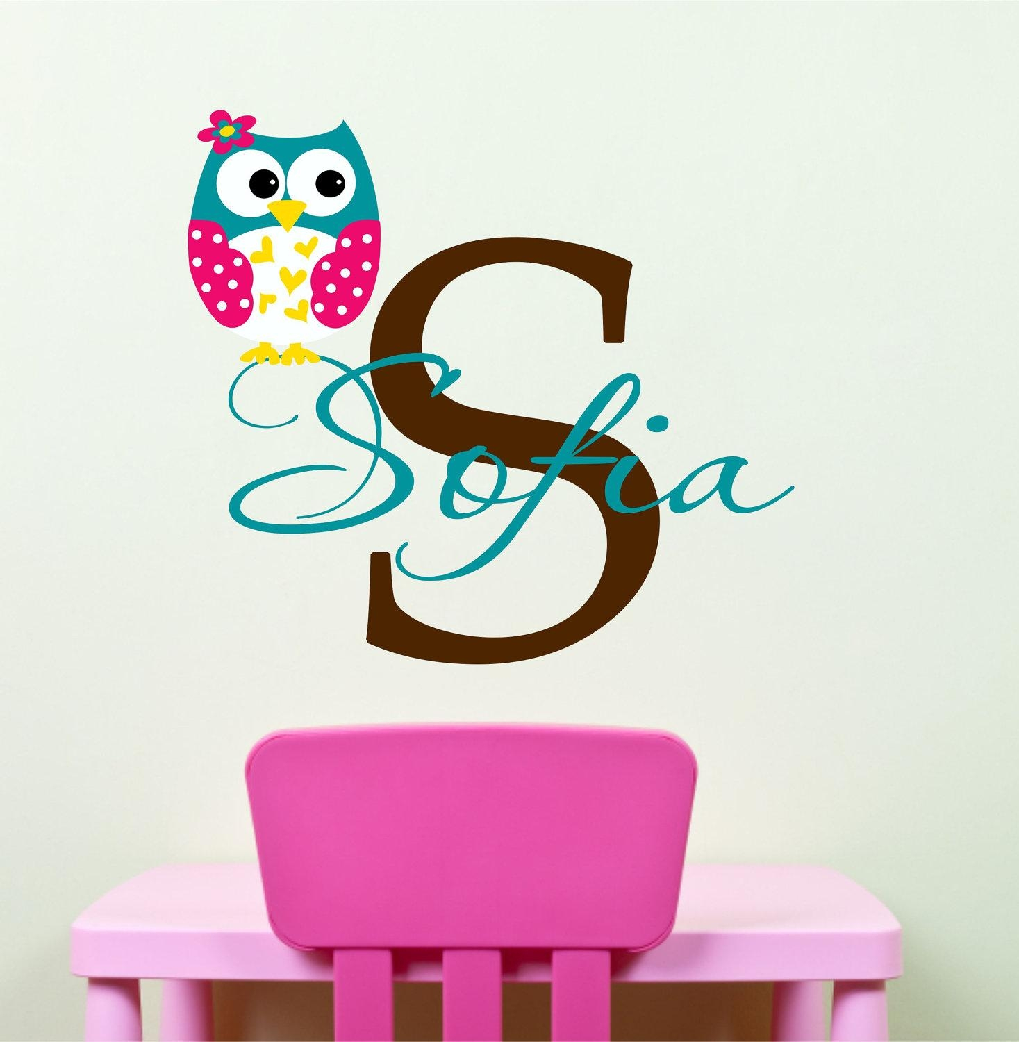 Owl Wall Decals Name Wall Decal Childrens Wall Decals In Owl Wall Art Stickers (View 5 of 20)