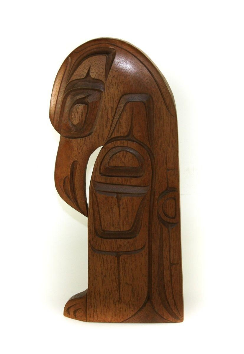 Pacific Hawaiian Polynesian Wooden Hand Carved Bird Tiki Wall Art With Polynesian Wall Art (Image 6 of 20)