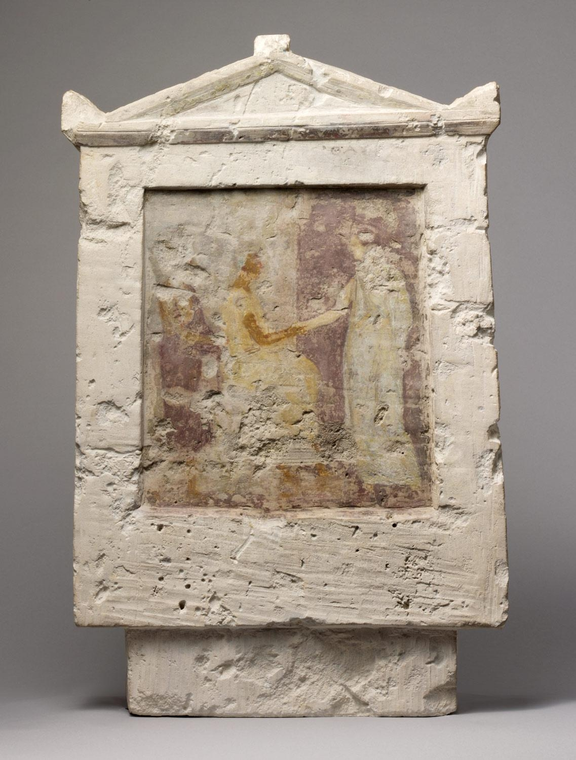 Painted Limestone Funerary Stele With A Seated Man And Two Pertaining To Greek Wall Art (Image 12 of 20)