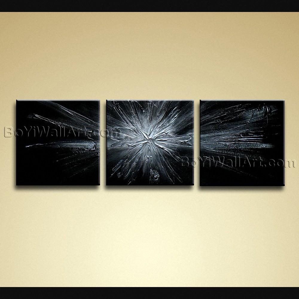 Painted Modern Abstract Painting On Canvas Wall Art 3 Pieces Grey Pertaining To Abstract Canvas Wall Art (Image 19 of 20)