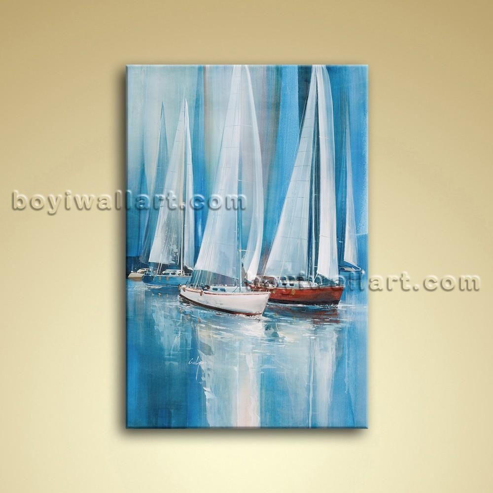 Painting Seascape Oil Canvas Wall Art Sailing Boat Abstract Pertaining To Boat Wall Art (View 17 of 20)