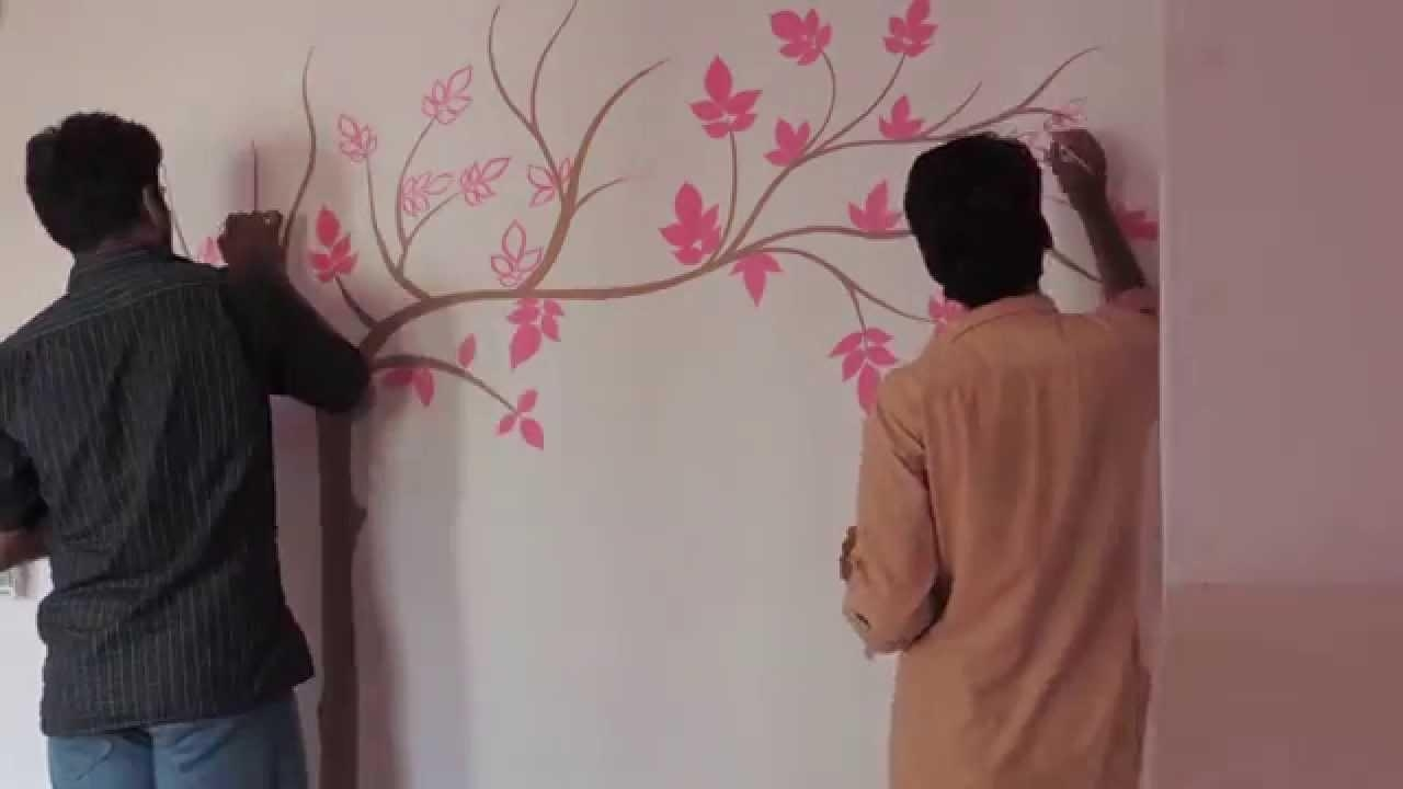 Painting Tree On Wall – Youtube Pertaining To Painted Trees Wall Art (Image 16 of 20)