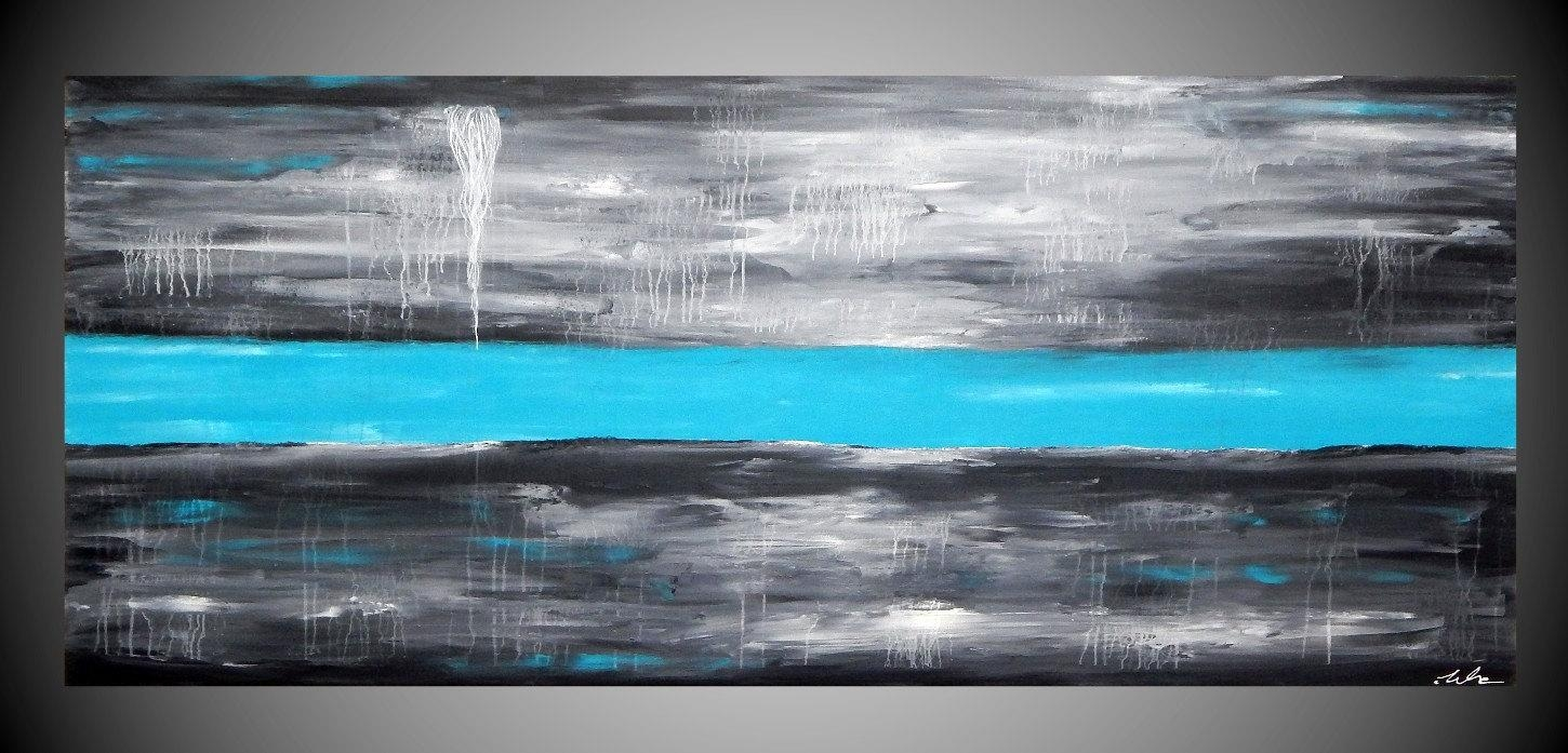 Painting Wall Art Large Canvas Art Wall Deco Grey Turquoise In Blue Wall Art (View 16 of 20)