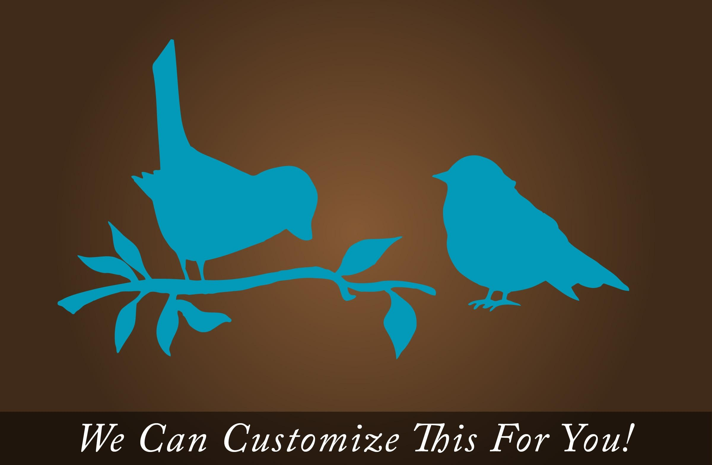 Pair Of Sparrow Birds On A Tree Branch – A Wall Decor Vinyl Decal Pertaining To Turquoise And Brown Wall Art (Image 13 of 20)