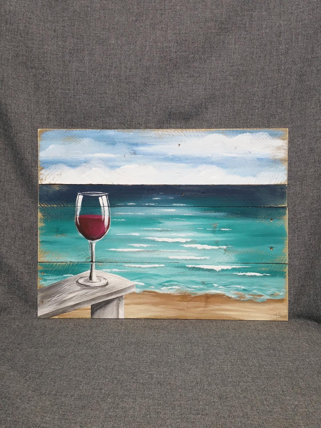 Pallet Wood Beach Red Wine Painting Pallet Ocean Wall Art Throughout Beach Wall Art (Image 17 of 20)