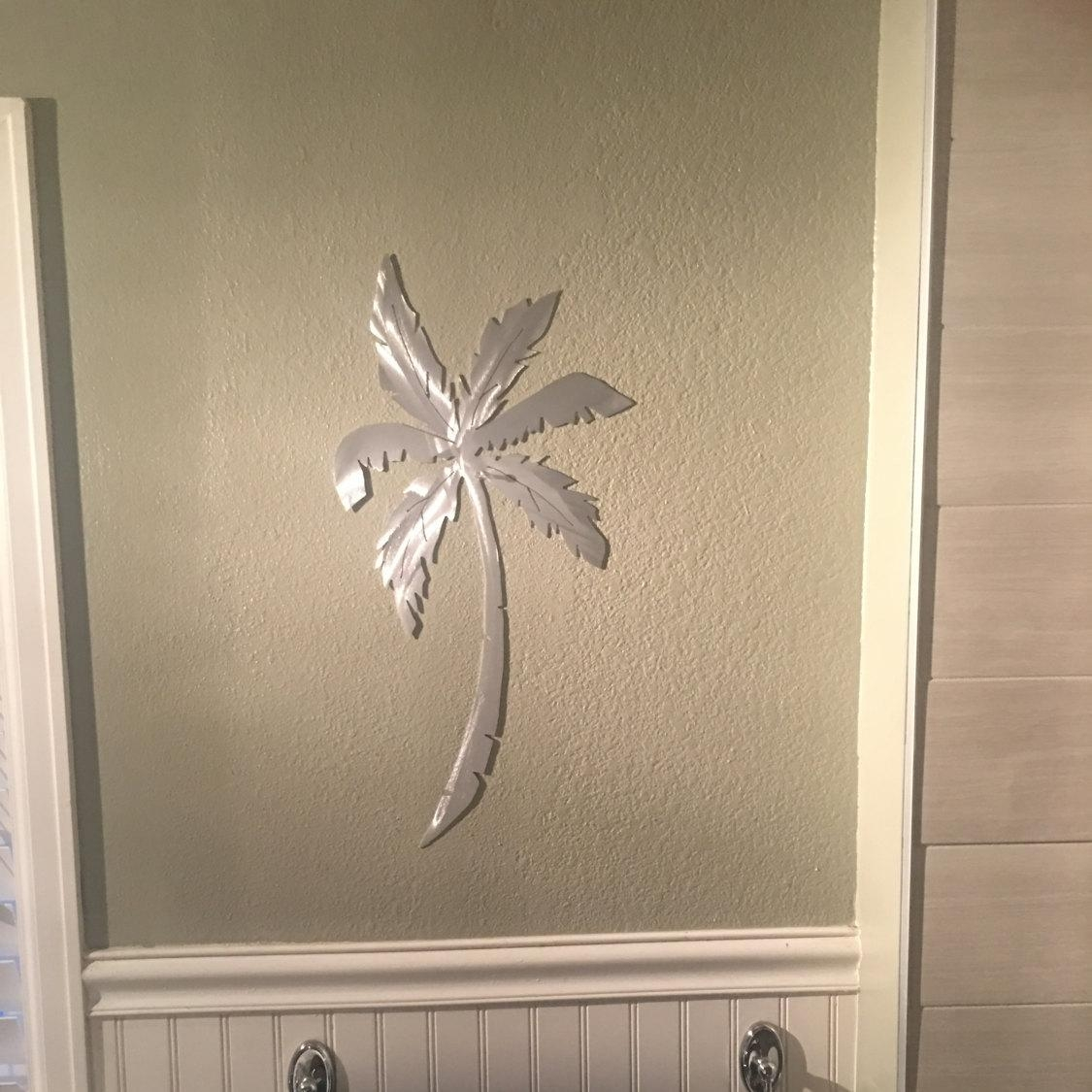 Palm Leaf Wall Decor, Tropical Plants, Metal Wall Art, Outdoor Within Palm Leaf Wall Decor (Image 13 of 20)