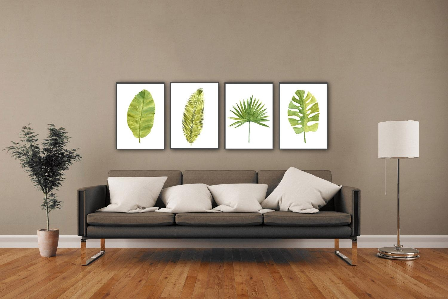 Palm Leaf Watercolor Painting Abstract Leaves Minimalist Fine Throughout Palm Leaf Wall Decor (Image 14 of 20)