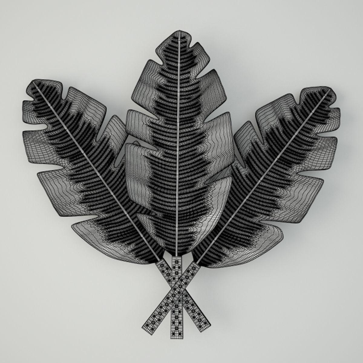 Palm Leaves Metal Wall Art 3D Model | Cgtrader For Palm Leaf Wall Art (Image 13 of 20)