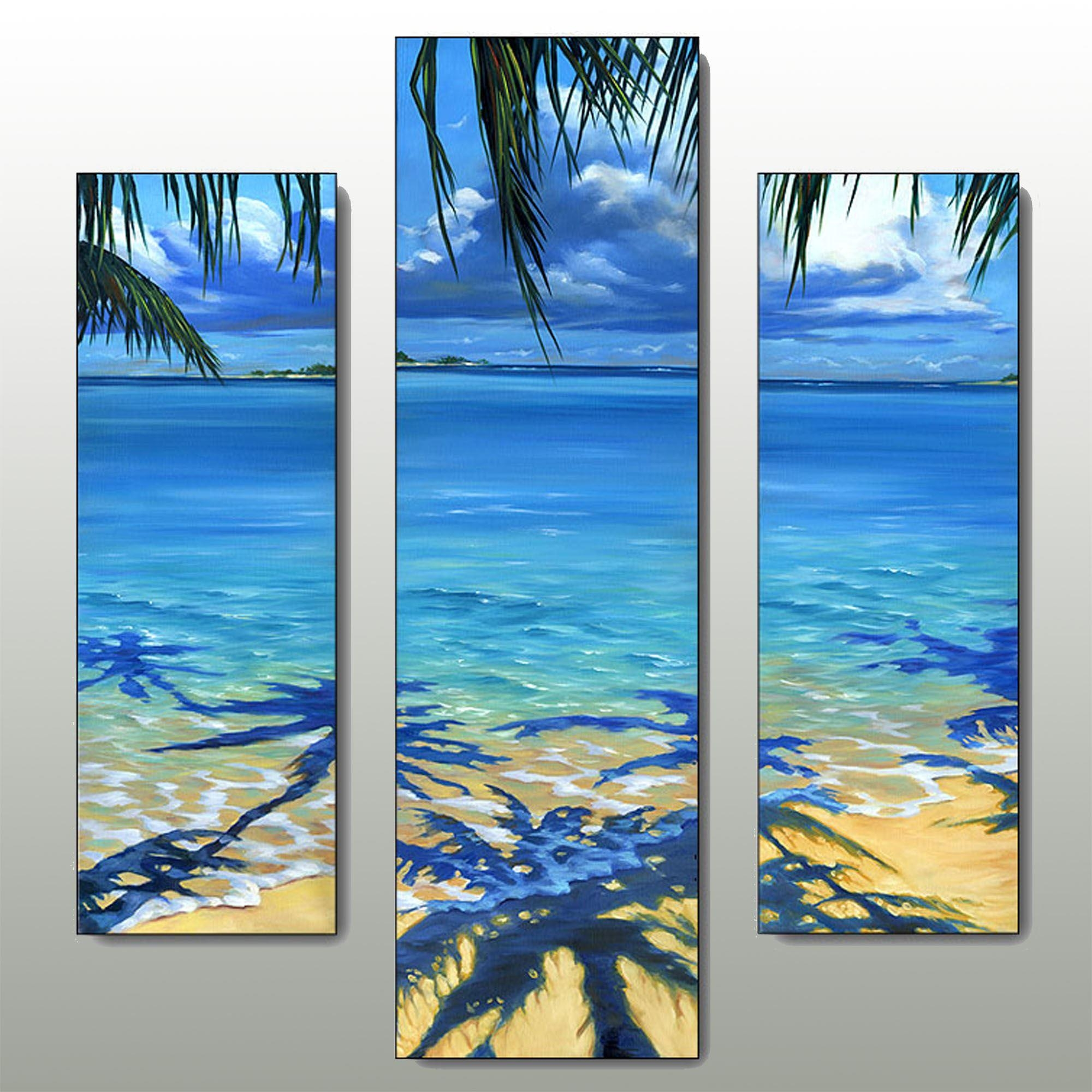 Palm Tree Shadow Beach Triptych Wall Art Set Inside Beach Wall Art (Image 18 of 20)