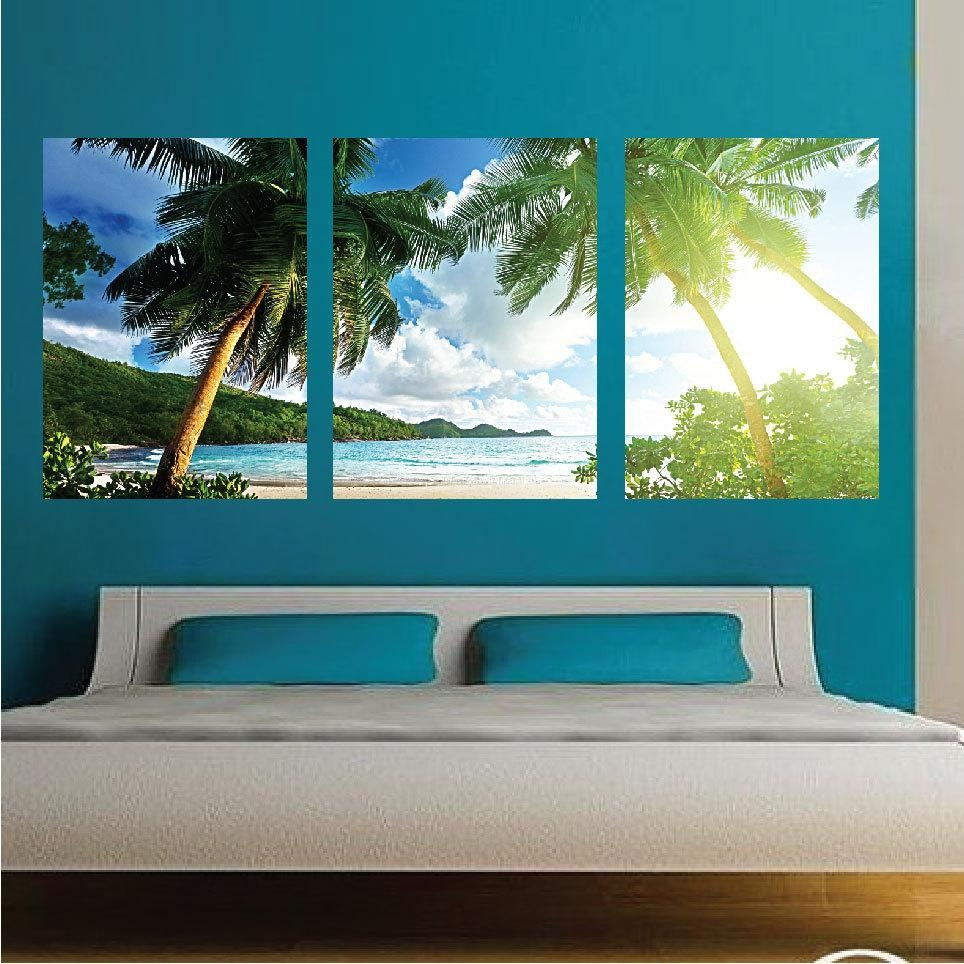 Palm Tree Wall Mural Decal Palm Tree Wall Art Decals Large With Beach Wall Art (Image 19 of 20)