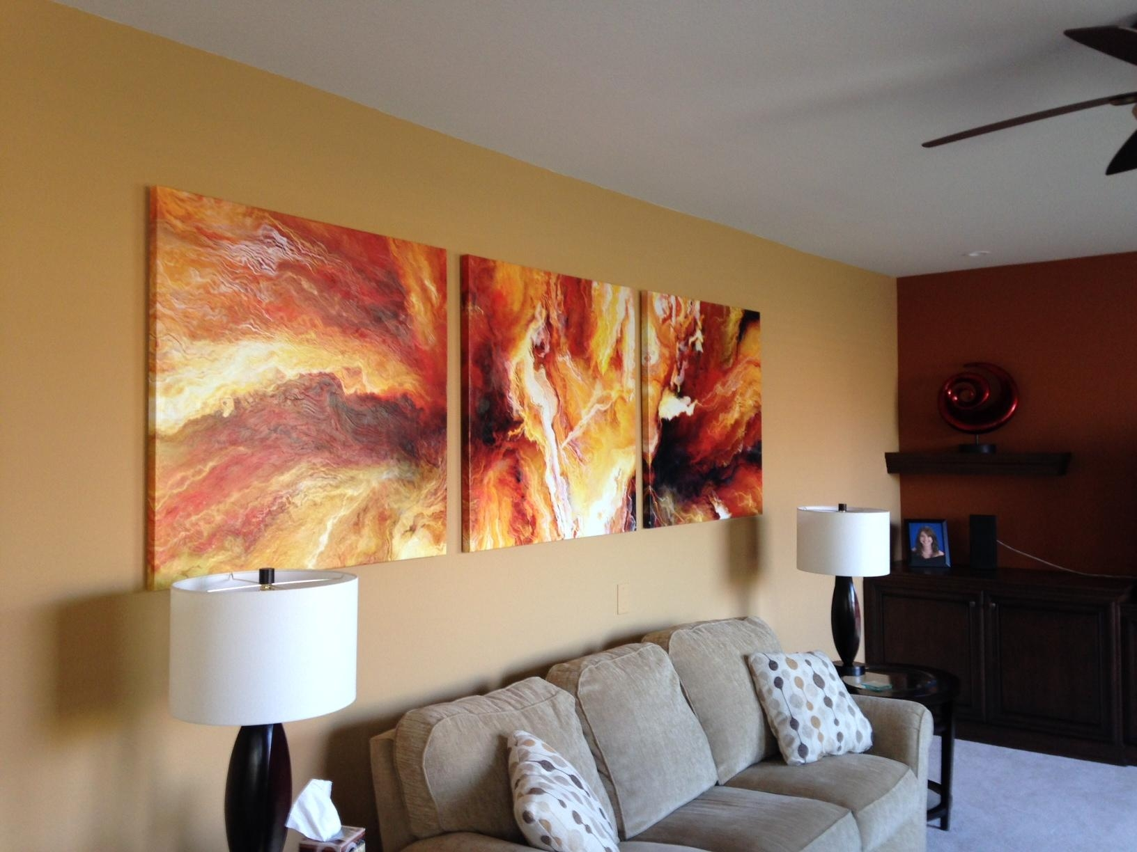 Panel Large Abstract Painting Art Canvas Print Triptych Living Room Within Triptych Art For Sale (Image 9 of 20)