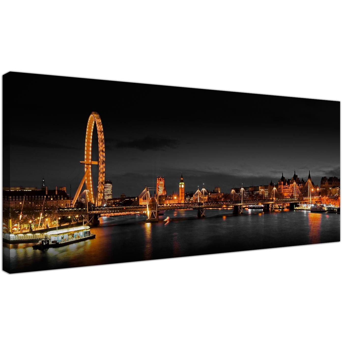 Panoramic Canvas Wall Art Of London Eye At Night For Your Living Room Pertaining To Cityscape Canvas Wall Art (Image 17 of 20)