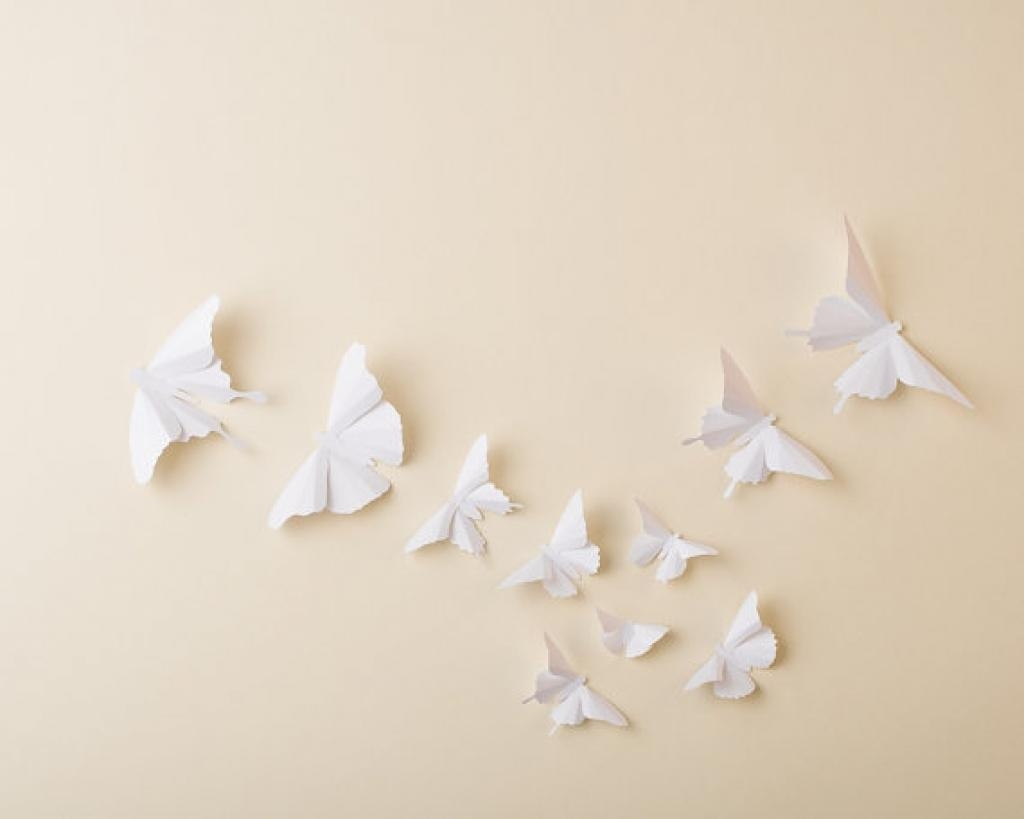 Paper Butterflies: 3D Butterfly Wall Art For Hipandclavicle White Regarding White 3D Wall Art (Image 11 of 20)