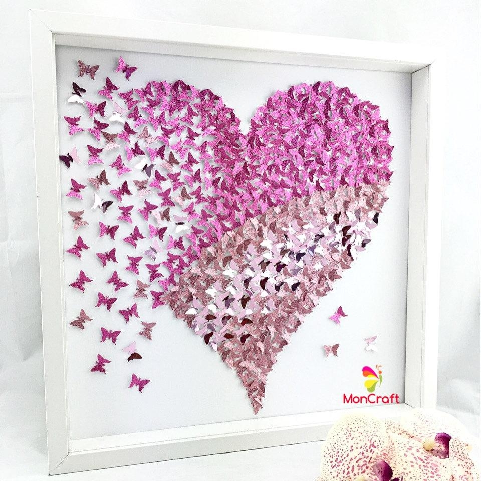 Paper Butterfly 3D Butterfly Wall Art Butterfly Heart With Regard To Butterfly Canvas Wall Art (View 7 of 20)