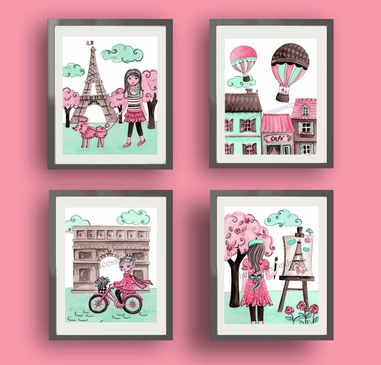 Paris Art Paris Decor Baby Nursery Art Decor Pink Mint Regarding Paris Theme Nursery Wall Art (View 3 of 20)