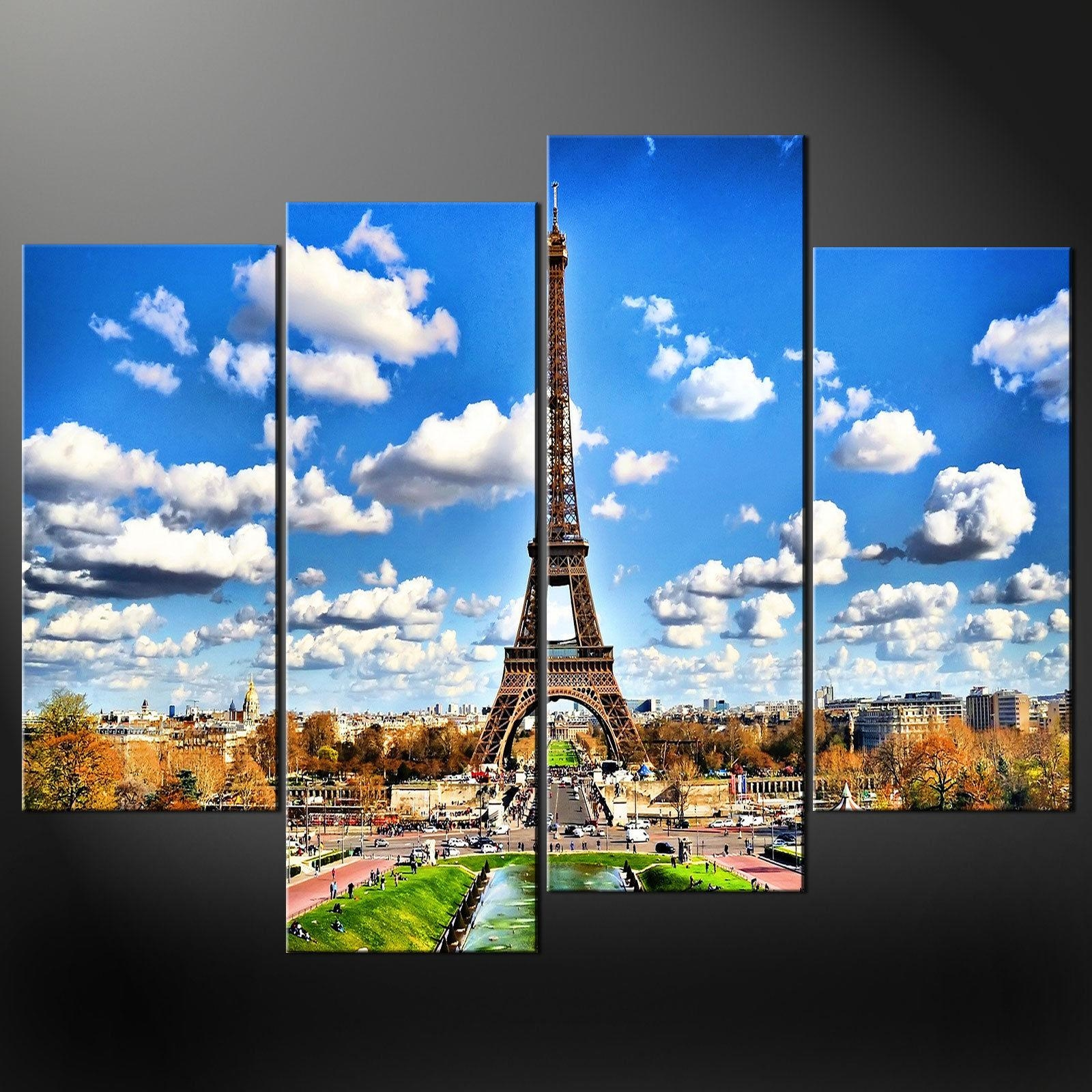 Paris Eiffel Tower Canvas Wall Art Pictures Prints Larger Sizes Throughout Eiffel Tower Wall Art (Image 14 of 20)
