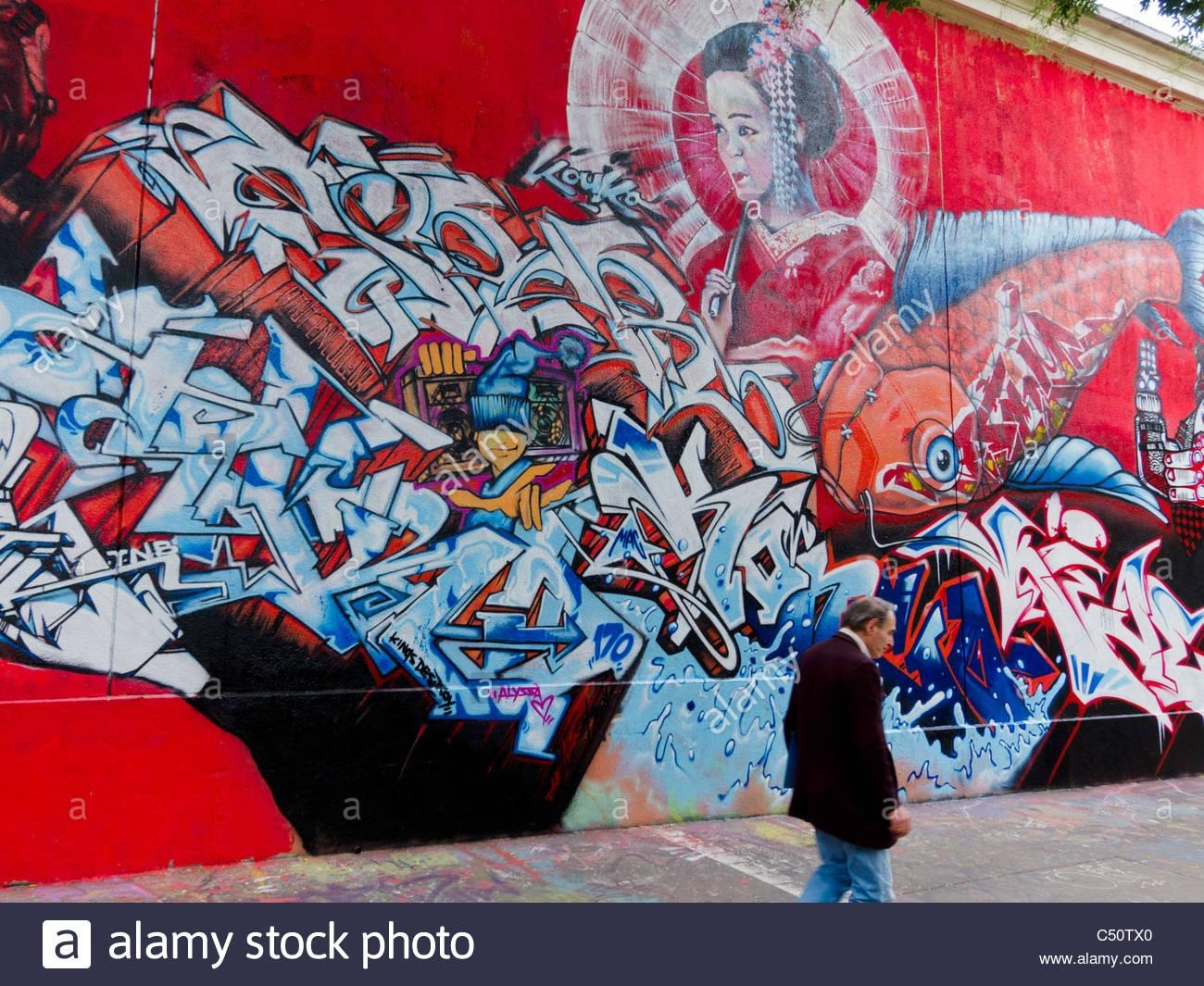 Paris, France, Graffiti Art, Public, Painting Wall, Japanese Theme Intended For Street Scene Wall Art (Image 8 of 20)