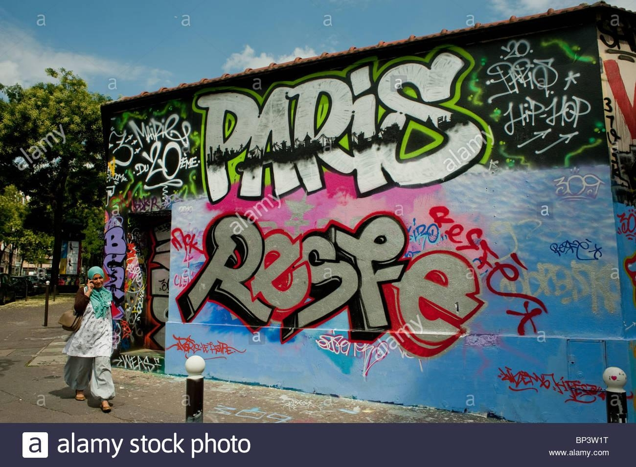 Paris, France, Street Scene, Arab Woman Walking, Painted Wall With With Regard To Street Scene Wall Art (Image 9 of 20)