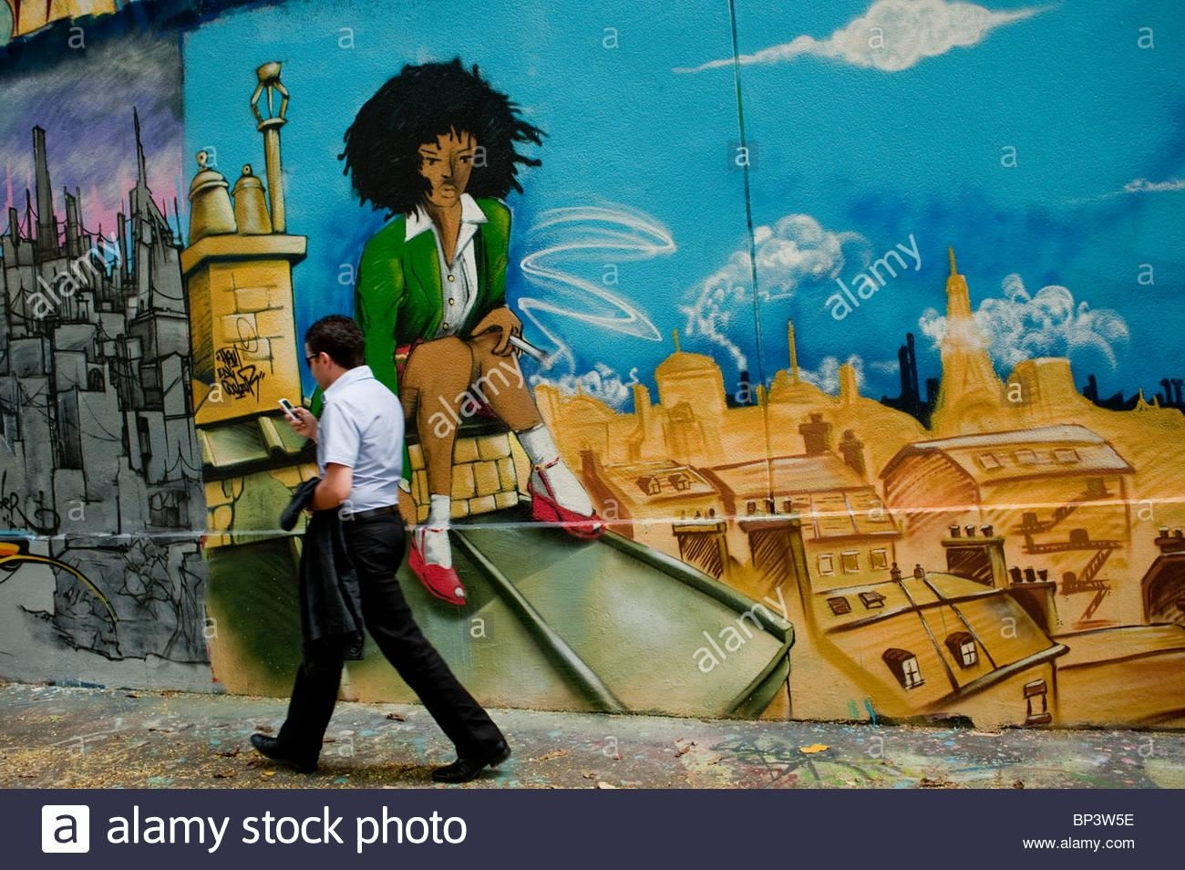 Paris, France, Street Scene, Man Walking, Painted Wall With Spray With Regard To Street Scene Wall Art (Image 10 of 20)