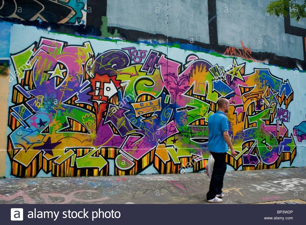 Paris, France, Street Scene, Painted Wall With Spray Paint Pertaining To Street Scene Wall Art (Image 11 of 20)