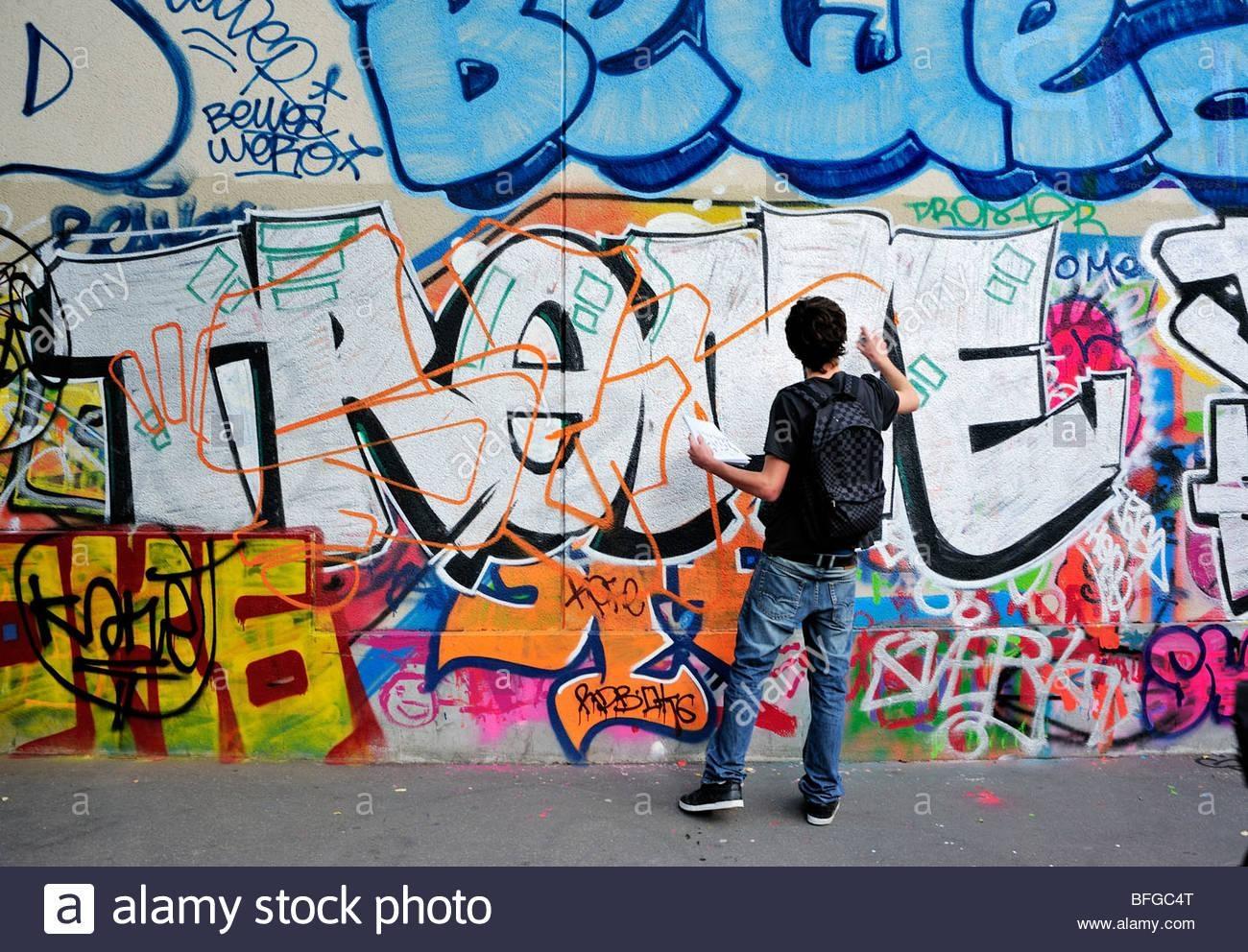 Paris, France, Street Scene, Young Male Teen Street Graffer In Street Scene Wall Art (Image 12 of 20)