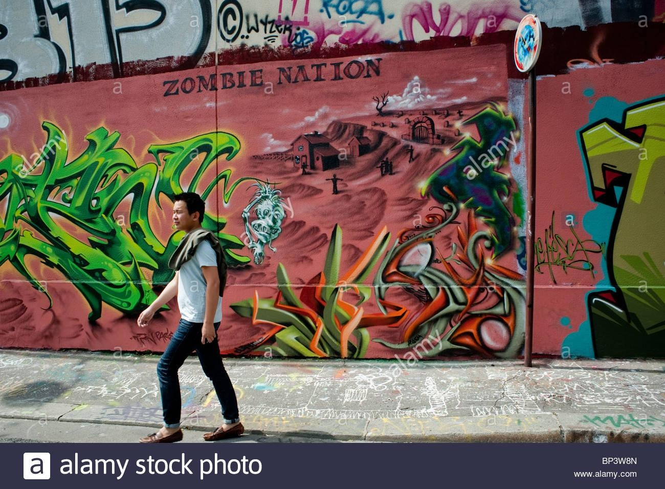 Paris, France, Street Scene, Young Male Walking, Painted Wall With Inside Street Scene Wall Art (View 11 of 20)