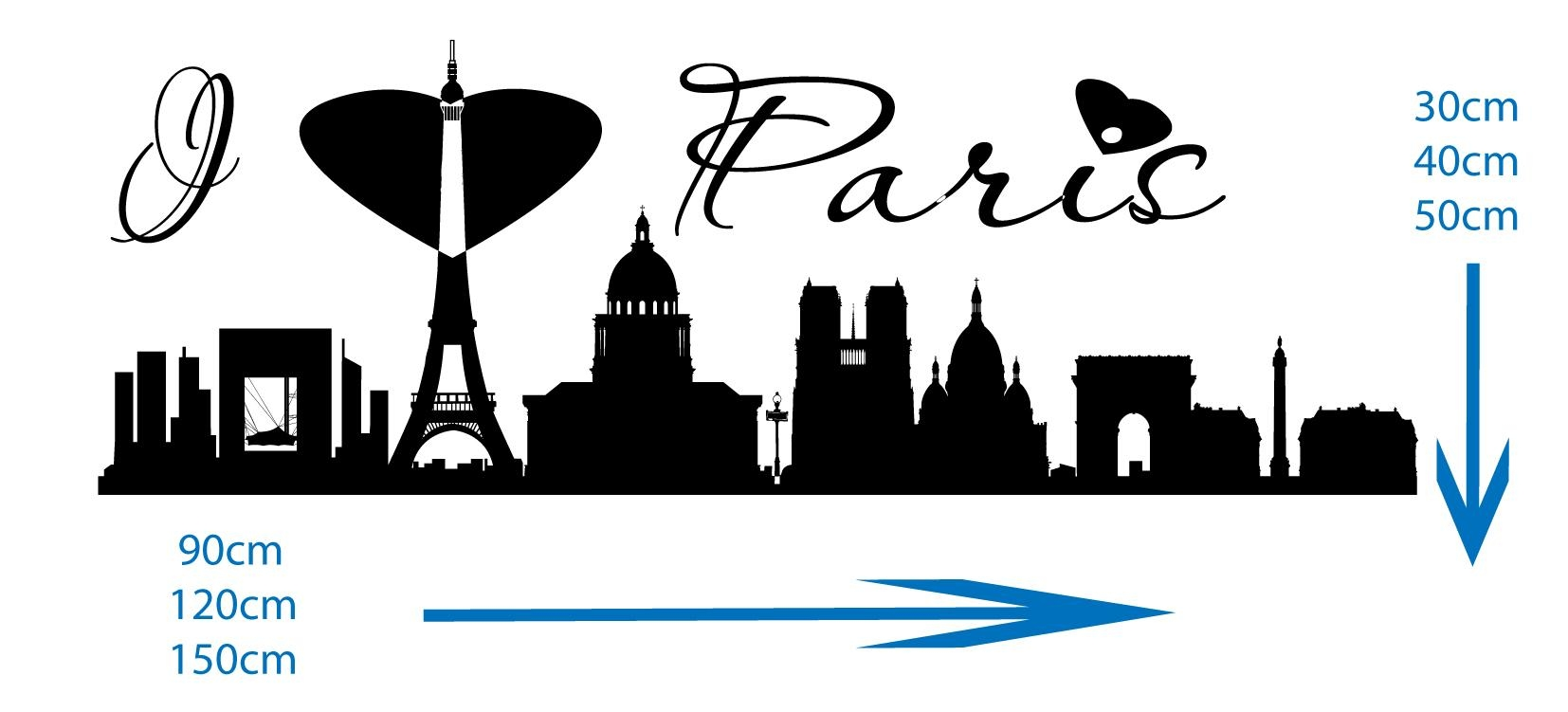 Paris Skyline – Vinyl Wall Art Stickers Decal With Paris Vinyl Wall Art (View 5 of 20)