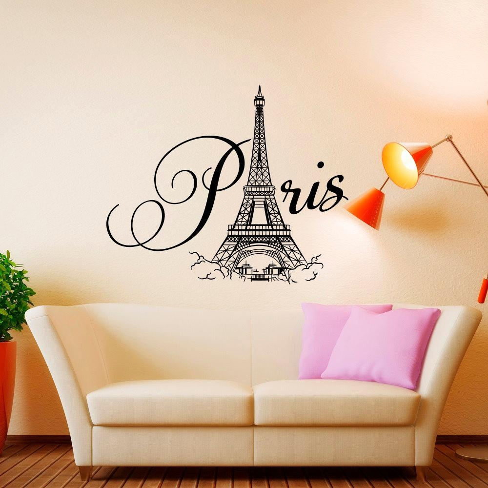 Paris Wall Decal Vinyl Lettering Paris Bedroom Decor Paris Regarding Paris Vinyl Wall Art (Image 14 of 20)