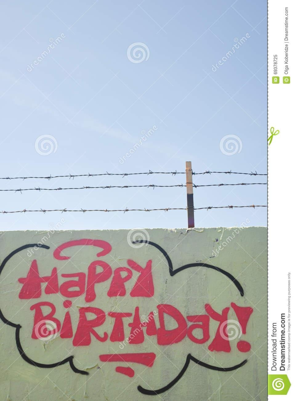 Part Drawing Graffiti – Wall With Happy Birthday Sign Stock Photo In Happy Birthday Wall Art (View 13 of 20)
