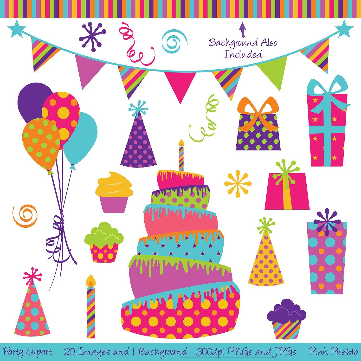 Party Clipart Clip Art Birthday Cake Clipart Clip Art Regarding Happy Birthday Wall Art (Image 17 of 20)