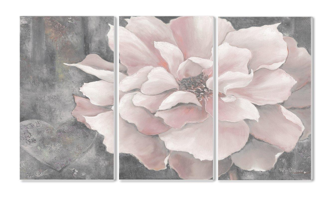Pastel Pink Peony 3 Panel Wall Art & Reviews | Joss & Main In Pink Flower Wall Art (Image 11 of 20)