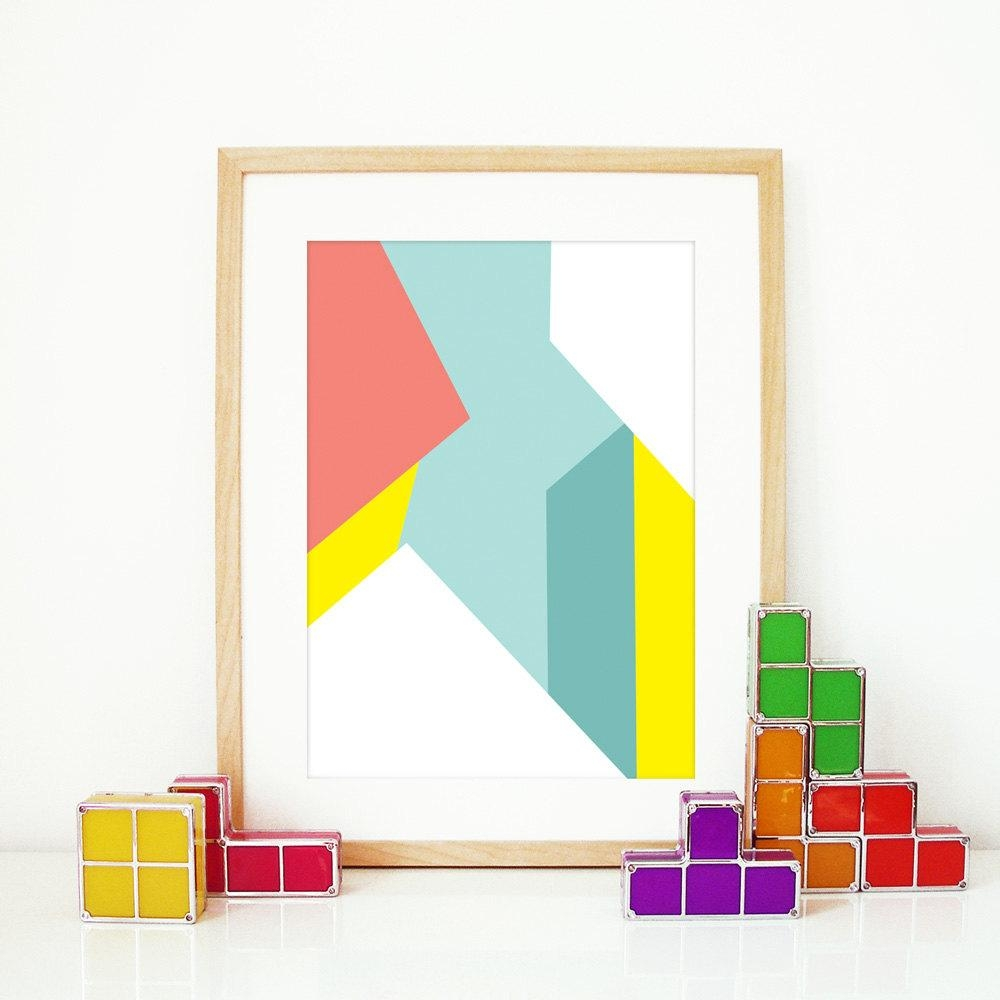 Pastel Wall Art Poster Art Print Color Abstract Pattern In Pertaining To Vibrant Wall Art (Image 15 of 20)