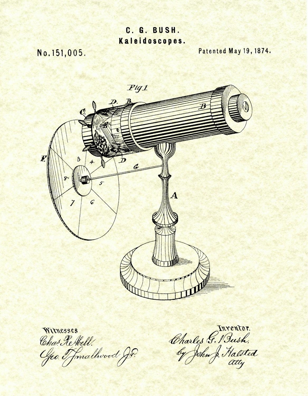 Patent 1874 Kaleidoscope Wall Art Print – Game Patent  Toy – Early Intended For Kaleidoscope Wall Art (Image 16 of 20)