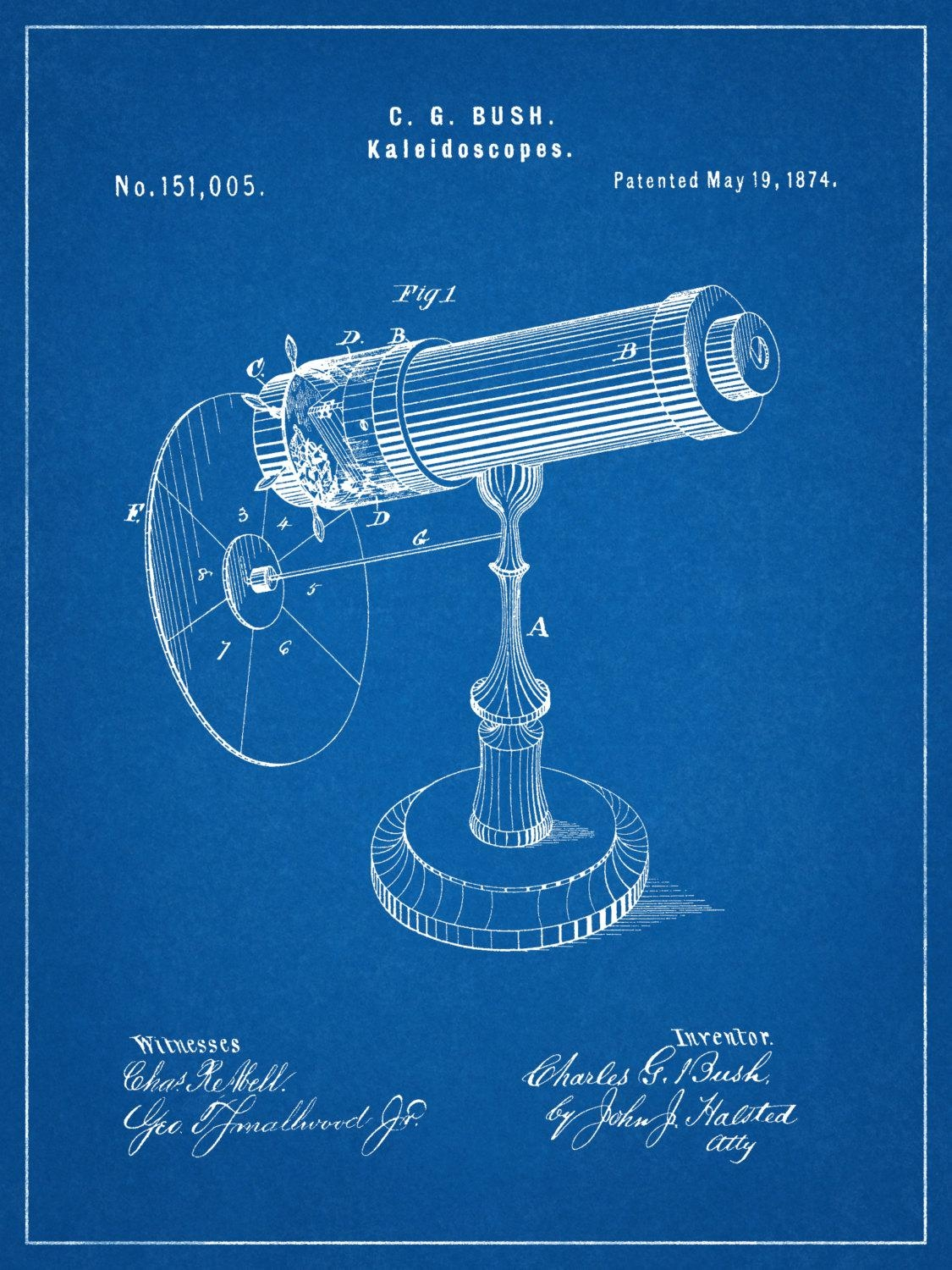 Patent 1874 Kaleidoscope Wall Art Print – Game Patent  Toy – Early Pertaining To Kaleidoscope Wall Art (Image 17 of 20)