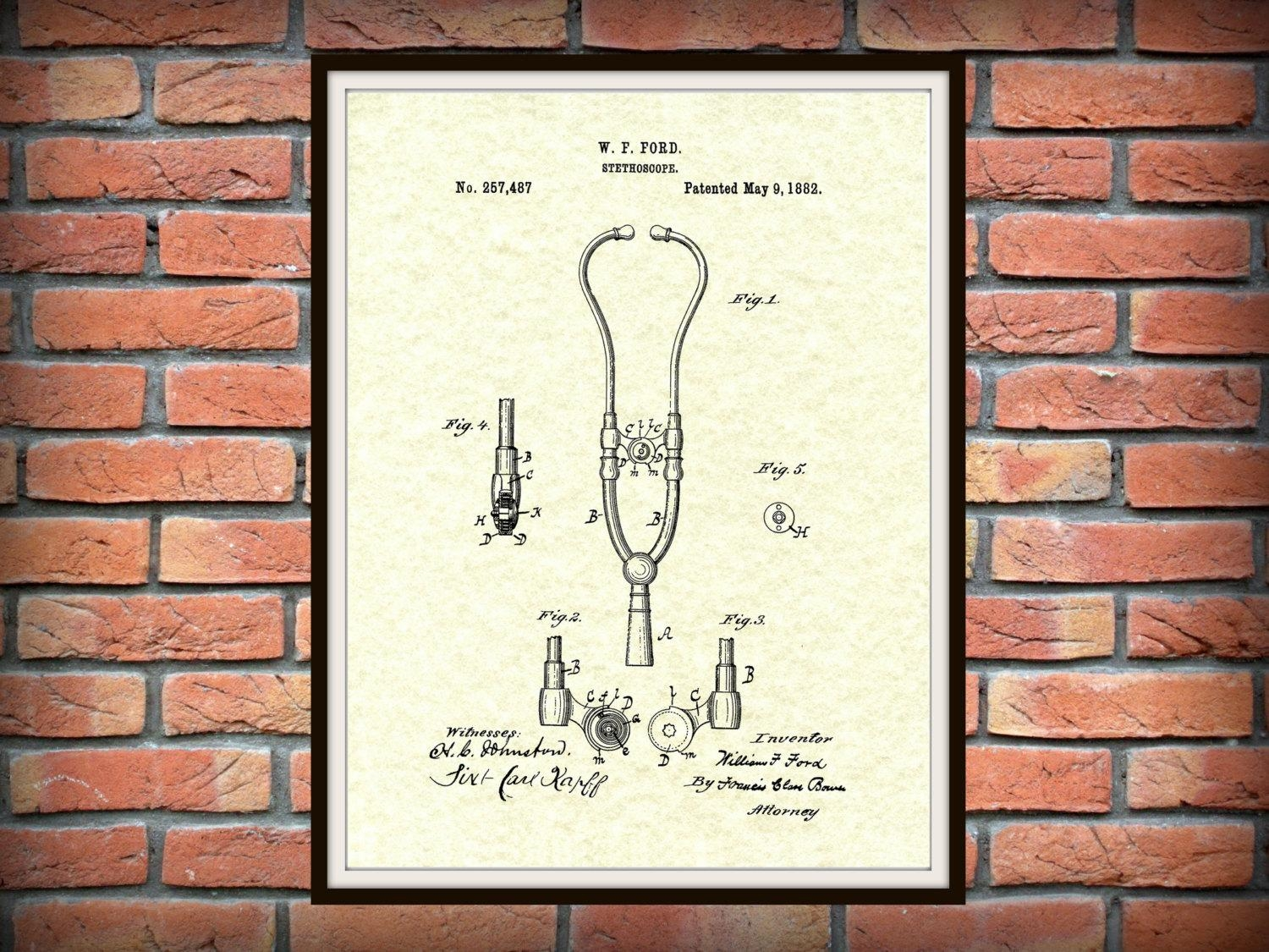 Patent 1882 Ford Stethoscope Art Print – Poster – Doctors Office With Medical Wall Art (View 3 of 20)