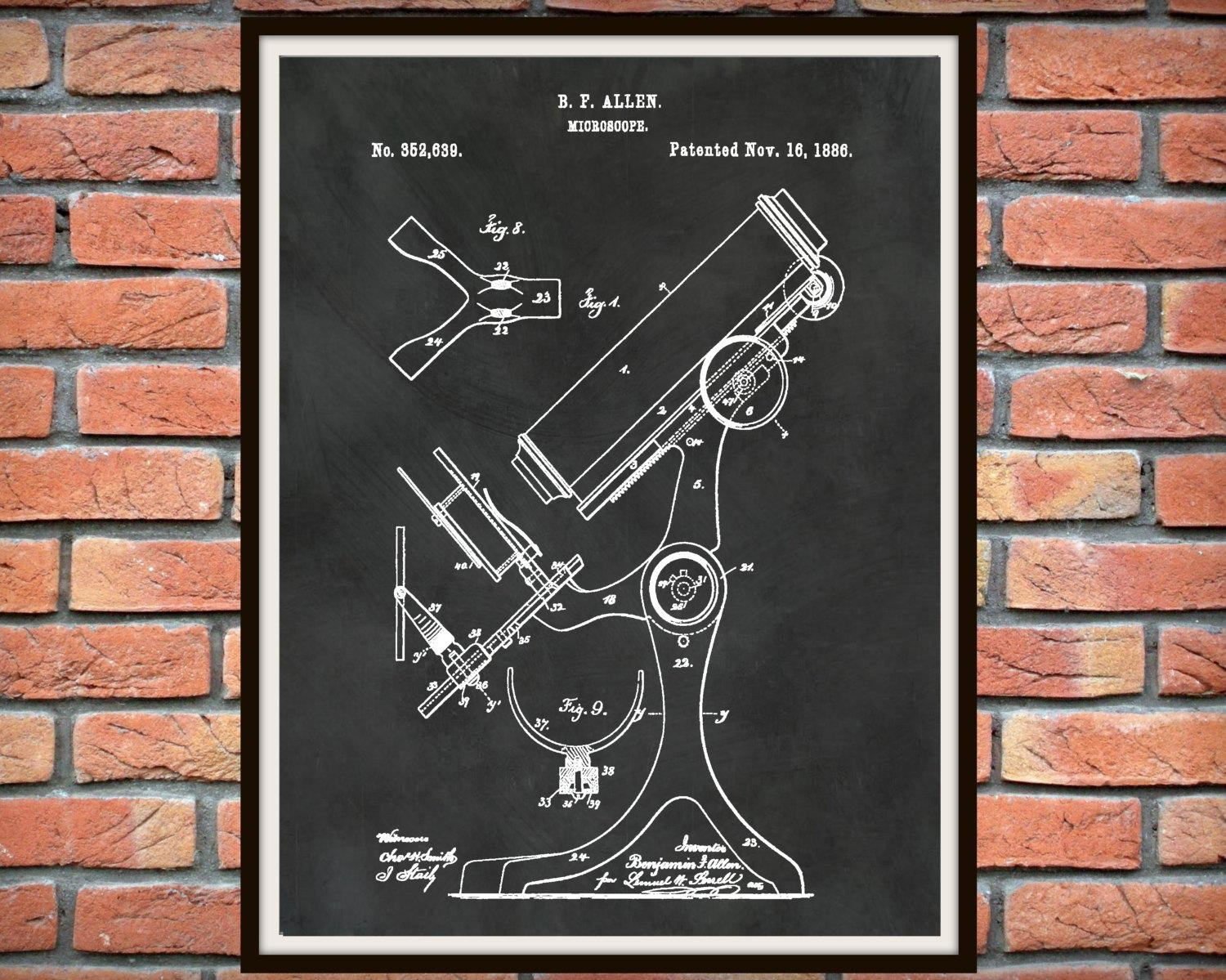 Patent 1886 Microscope – Art Print – Poster – Medical – Doctors Pertaining To Medical Wall Art (View 10 of 20)