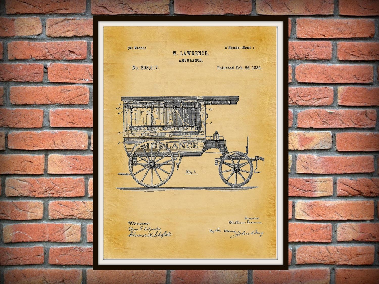 Patent 1889 Ambulance Patent Print – Doctors Office – Hospital Regarding Medical Wall Art (Image 15 of 20)