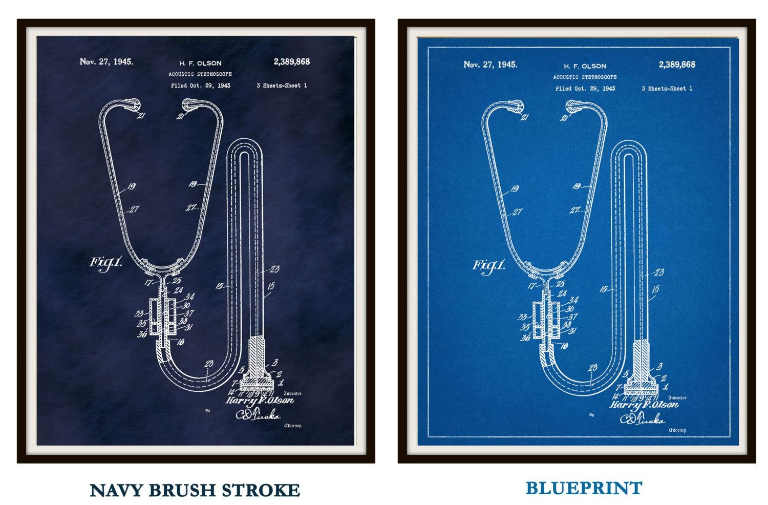 Patent 1945 Acoustic Stethoscope Art Print – Doctors Office Pertaining To Medical Wall Art (View 2 of 20)