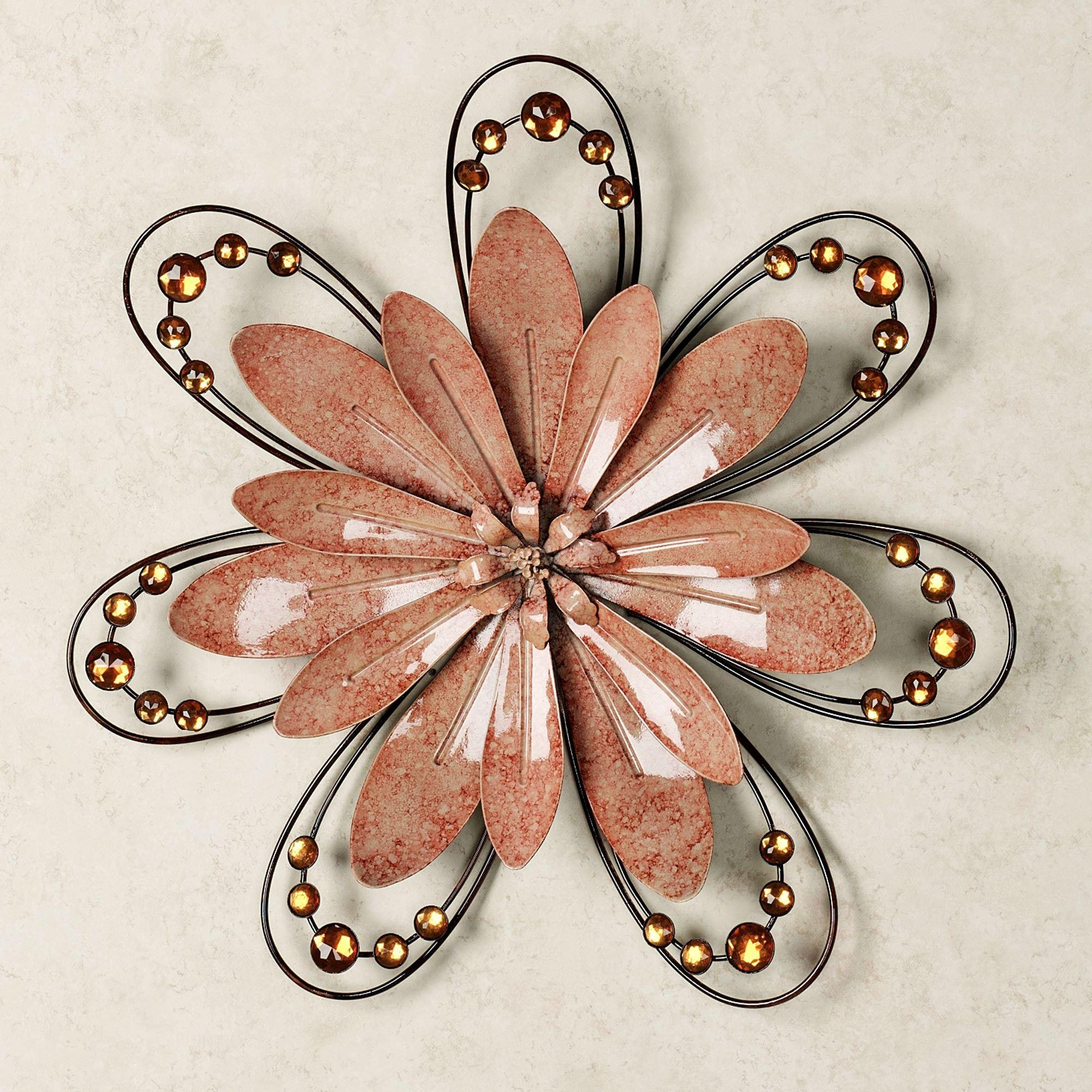 Peach Floral Gem Metal Wall Accent Within Purple Flower Metal Wall Art (View 9 of 20)