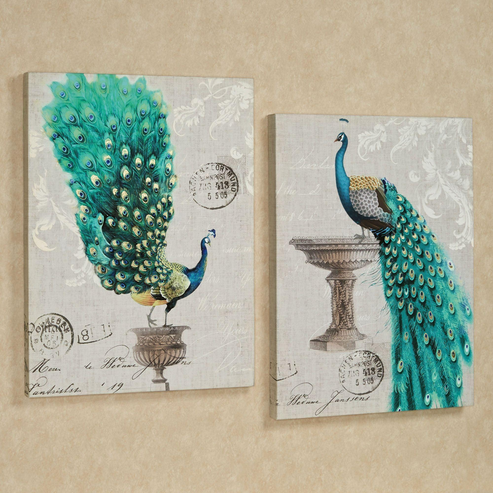 Peacock Fanfare Giclee Canvas Wall Art Set Throughout Metal Peacock Wall Art (View 5 of 20)