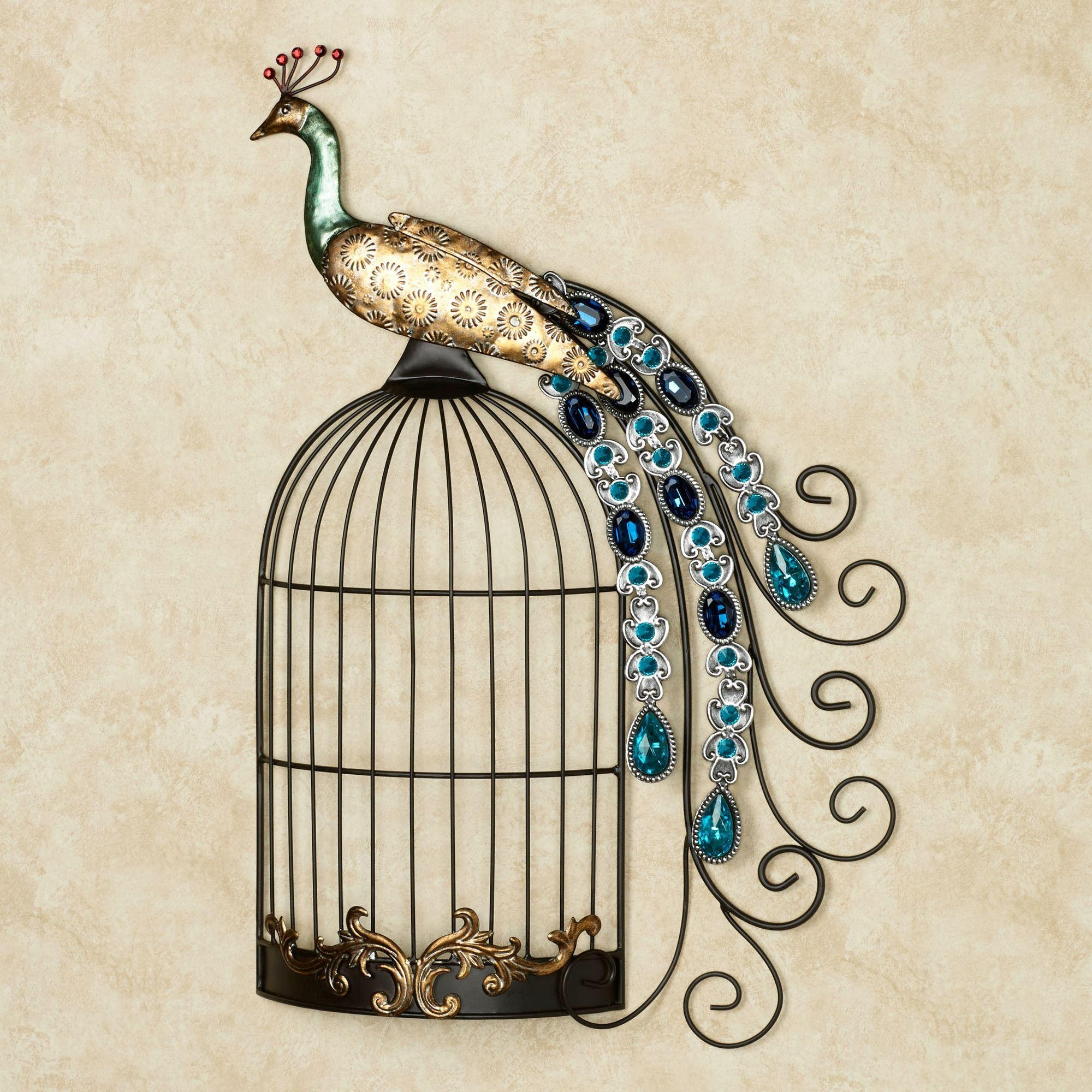 Peacock Jewels On Cage Metal Wall Art With Regard To Peacock Metal Wall Art (View 6 of 20)