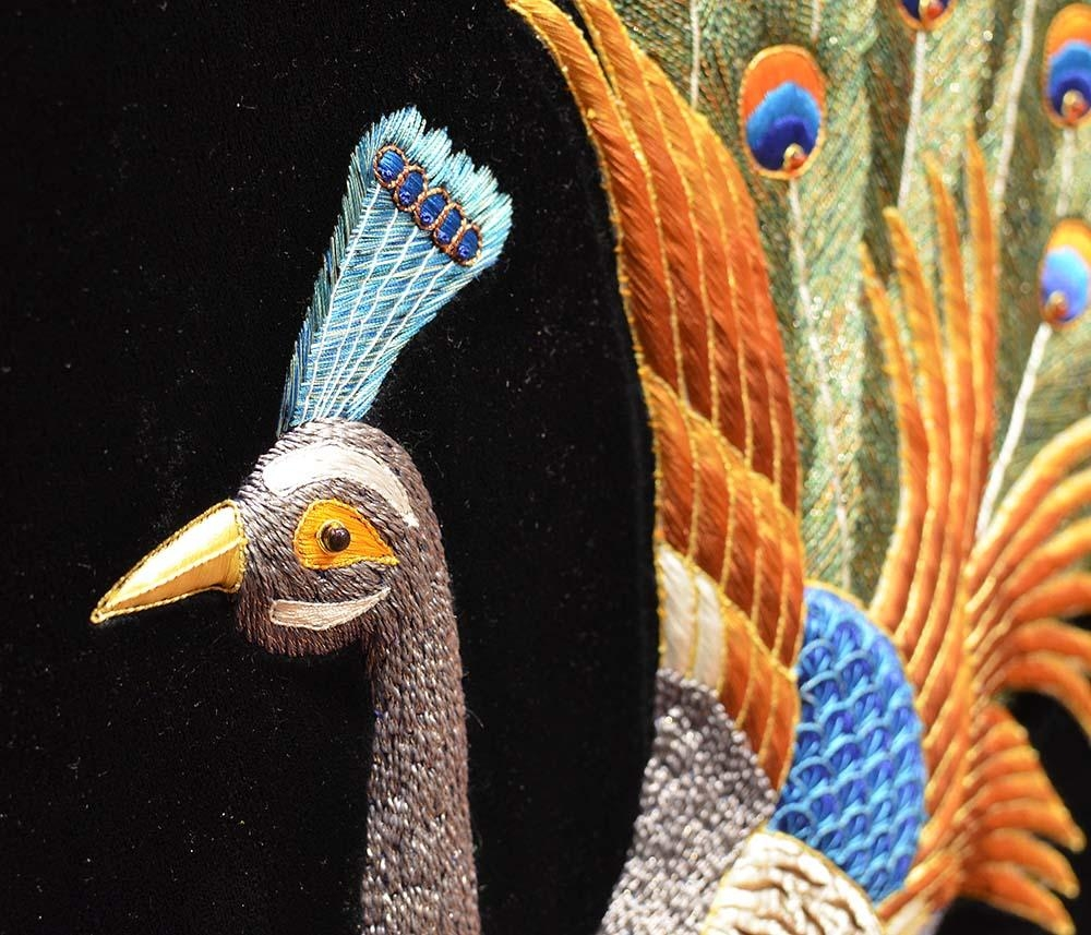Peacock Wall Art Decorative Panel Jewel Art Tapestrykashmir Fine For Jeweled Peacock Wall Art (Image 15 of 20)