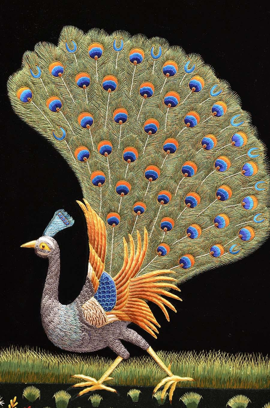 Peacock Wall Art Decorative Panel Jewel Art Tapestrykashmir Fine In Jeweled Peacock Wall Art (Image 16 of 20)