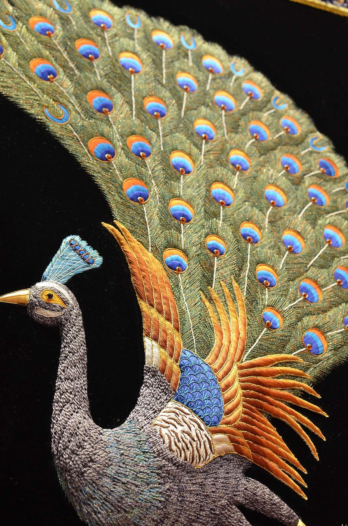 Peacock Wall Art Decorative Panel Jewel Art Tapestrykashmir Fine Intended For Jeweled Peacock Wall Art (Image 17 of 20)