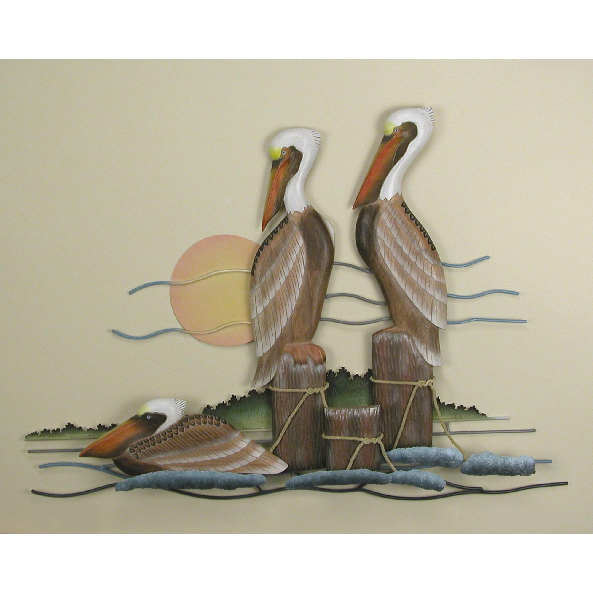 Pelican, Trio, Wall Art Pertaining To Seaside Metal Wall Art (Image 15 of 20)